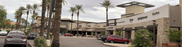 Painted strip mall storefronts