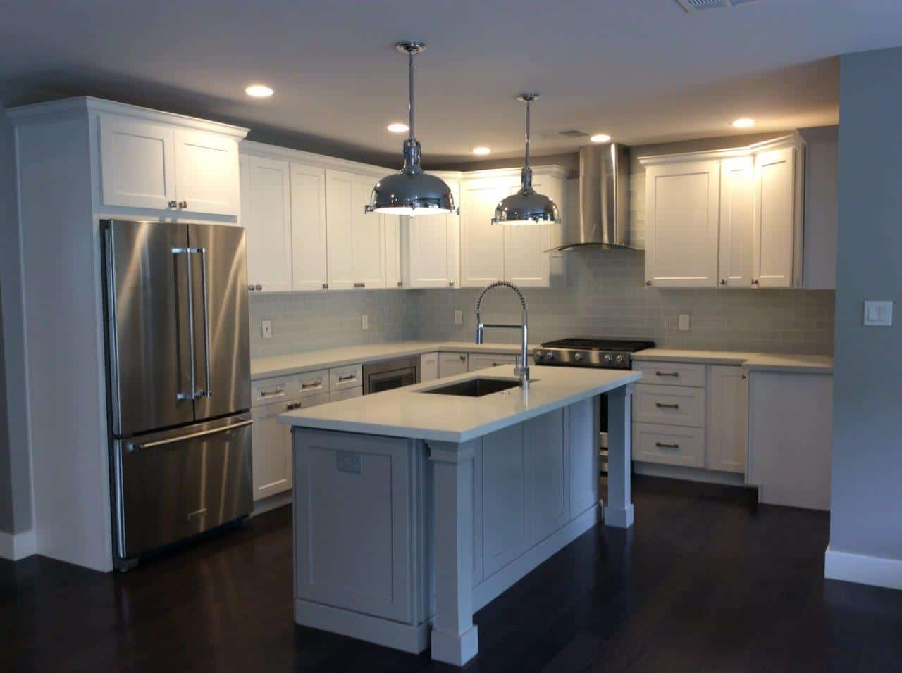 Newly painted kitchen with silver appliances