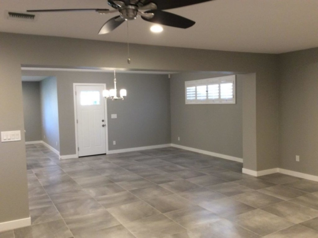 Freshly painted residential living and dinning room