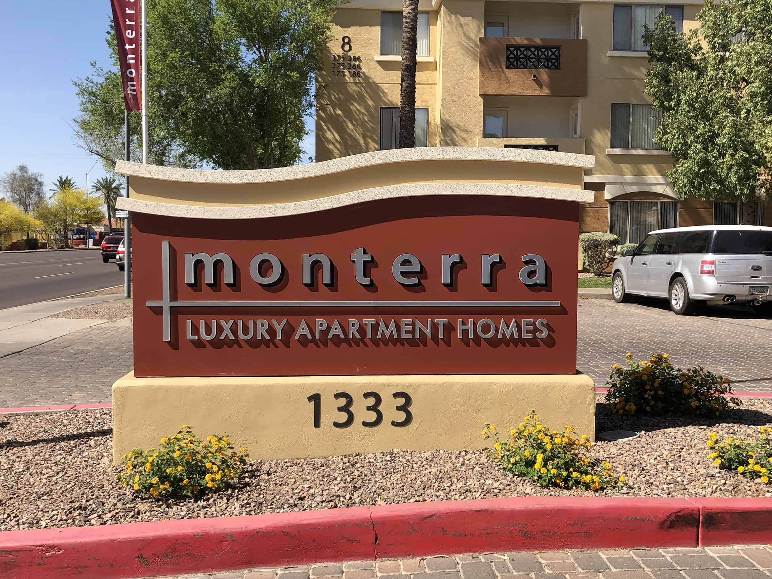 monterra luxury apartments freshly painted sign