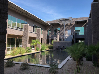 Office complex in Phoenix, stairs, roofs, fountain and exterior walls