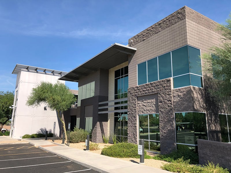 Newly painted close up of an office building in metro phoenix