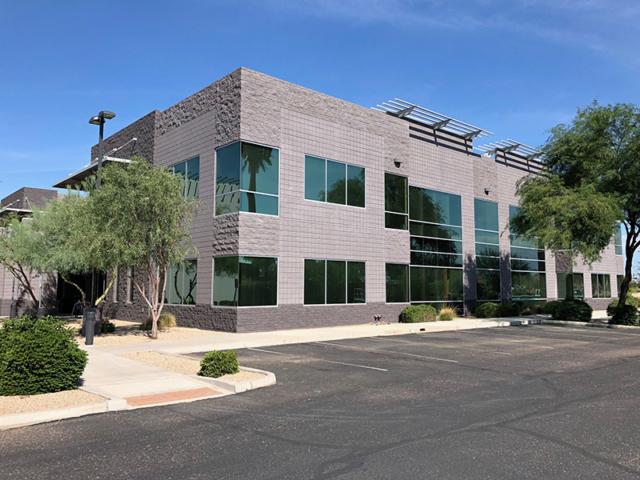 Newly painted commercial office building